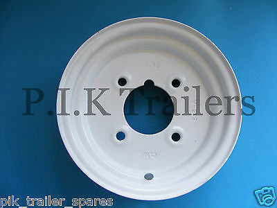 "8"" Trailer Wheel Rim 4"" Inch PCD Wheel - WHITE"