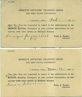 1932 Ohio State University Reserve Officers' Training Corps Postal Cards