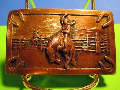 OLD Copper 1940's Era Cowboy Riding WILD Bucking Horse Old Style Belt Buckle