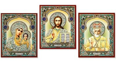 Russian Wooden Icon Set 3 Madonna & Child Virgin Of Kazan Christ St Nichilas WOW