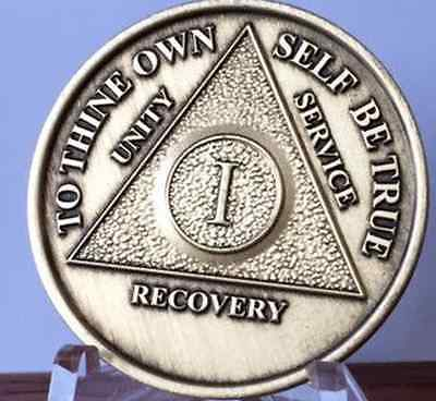 AA Alcoholics Anonymous 1 Year Chip Medallion Medal Token Bronze Coin One