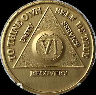 6 Year AA Medallion Alcoholics Anonymous Sobriety Chip Bronze Six Years VI