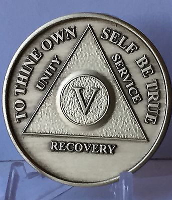 Alcoholics Anonymous 5 Year Sobriety Coin Chip Medallion Medal Token AA Bronze