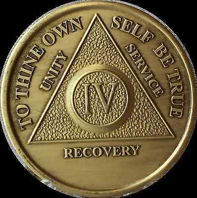 4 Year AA Medallion Alcoholics Anonymous Sobriety Chip Bronze Coin Four IV
