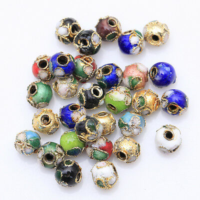 110pcs Mixed Color Chinese Cloisonne Enamel Round Spacer Loose Beads 6mm
