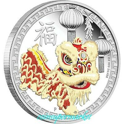 Australia The Chinese Lion Dance 2015 1oz Silver Proof Coin Presentation Package