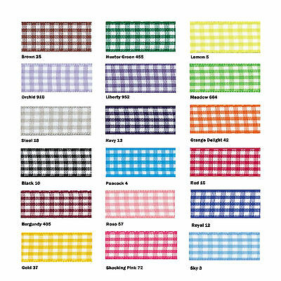 Berisfords Gingham Ribbon 20m Reel Choice of 5mm 10mm 15mm 25mm 40mm & Colours
