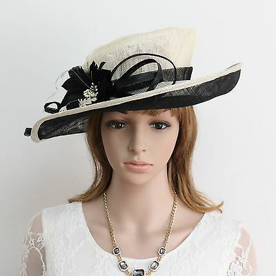 New Woman Church Derby Wedding Cocktail Party Sinamay Dress Hat  159Black&White
