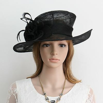 New Woman Church Derby Wedding Cocktail Party Sinamay Dress Hat  CM015Black