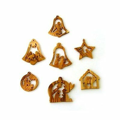 Olive Wood Complete 7-Piece Christmas Ornament Set. Nativity Story.