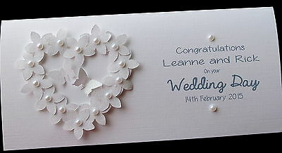 Personalised Handmade Flowerheart Wedding Day Money/Voucher/Gift Card Wallet