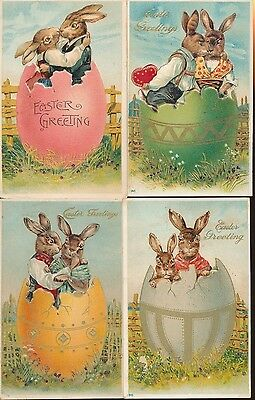 Beautiful Lot of 4 Dressed Bunny Rabbits in Eggs Vintage Easter Postcards-ppp899