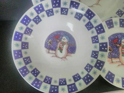 Blue Snowman Scene White Snowflake Made In China Salad Plate(s) READ Details