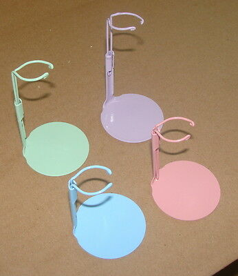 "12 KAISER #2099 DOLL STANDS 6.5"" to 11"" 6 Pink & 6 Purple colored rainbow stands"