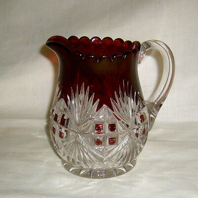 ANTIQUE US GLASS MCKEE NATIONAL 1891 EAPG MAJESTIC ~ PILGRIM RUBY STAIN CREAMER