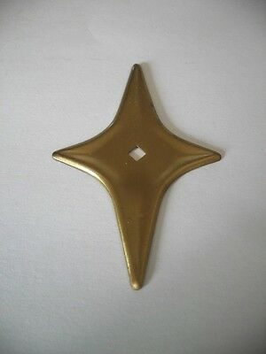 Vintage NOS SATIN BRASS Plated STAR knob BACKPLATES Art Deco Mid Century