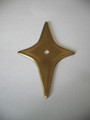 Vtg NOS SATIN BRASS Plated STAR knob BACKPLATES Art Deco Mid Century starburst