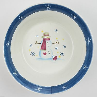 Snowman Blue Band White Stars Made In China Soup Cereal Bowls Set of 4  CX284