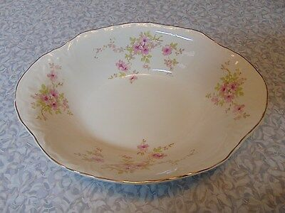 ❤RADISSON W.S. George #36725 Pink Flowers 9 Inch Oval Vegetable Bowl