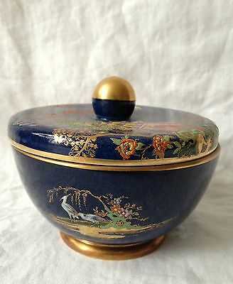 Carlton Ware, covered candy dish, cobalt blue, gilt, applied enamel decoration