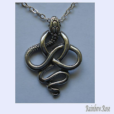 Pewter Necklace on Chain #163 SNAKE twisted knot Silver Tone