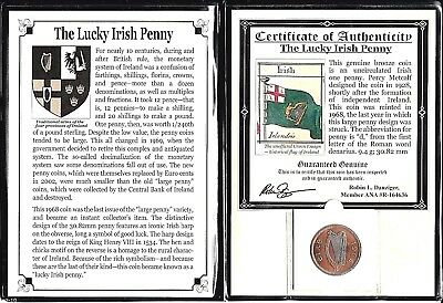Ireland 1968 Lucky Penny,Uncirculated,With Certificate and large Album