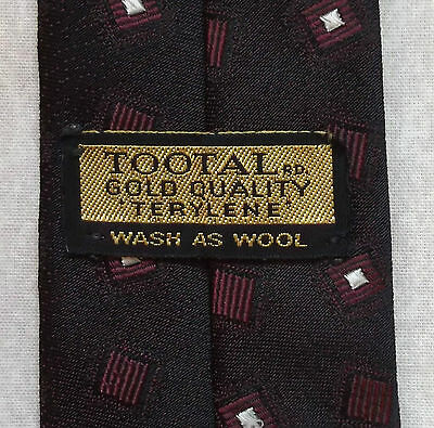 Tootal Gold Quality Tie Vintage Retro 1950's 1960's Mod Burgundy Black Two Tone