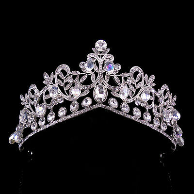 6cm High Large Luxury Leaf Beads Crystal Classical Wedding Bridal Crown Tiara