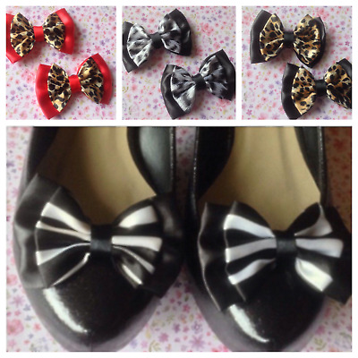 1 Pair Satin & Animal Print Fabric Bow Shoe Clips Retro Vintage Style Glamour