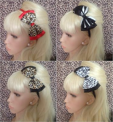 """Leopard Animal Print Alice Hair Head Band 5"""" Double Bow Vintage Style Glamour"""
