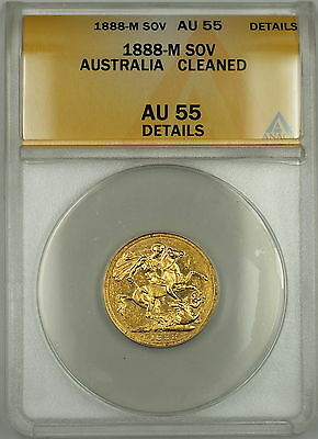 1888-M Australia Sovereign Gold Coin ANACS AU-55 Details Cleaned