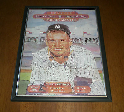 1983 YANKEES MICKEY MANTLE FRAMED DONRUSS PUZZLE PRINT