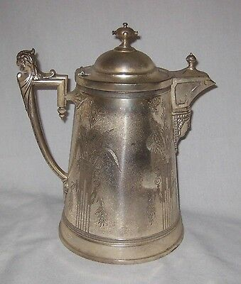 1854 JA Stimpson Silver Plate Ice Tea Coffee Pitcher Very Decorative