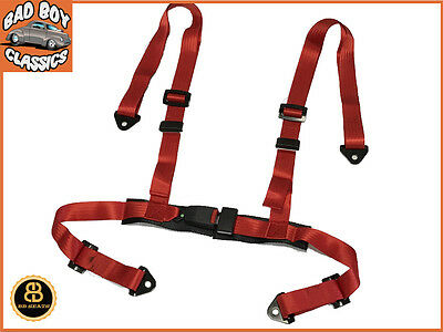 4 Point RED Racing Seat Belt  Harness Kit For Car / Off Road / 4x4