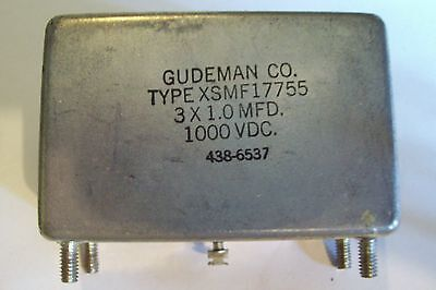 *New Old Stock 3 x 1MFD 1000VDC Gudeman Capacitor (XSMF17755)