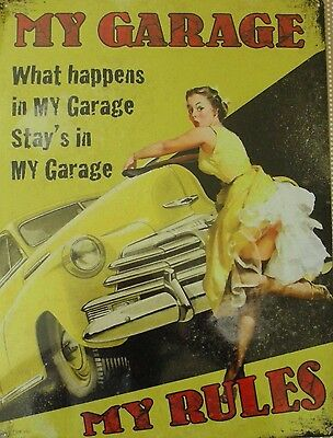 My Garage My Rules Saucy Stocking Tops Vintage Metal Sign Large Tin Plaque NEW