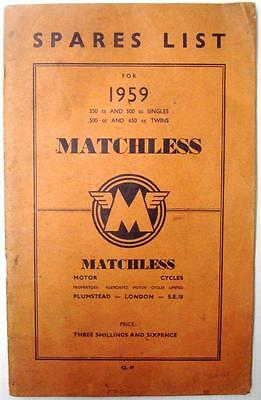 MATCHLESS 350-500-650 cc Singles/Twins - Original Motorcycle Parts List - 1959