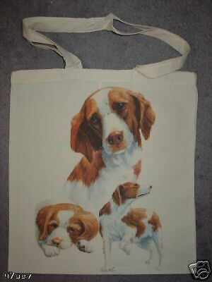 Brittany Dogs on  A Tote Canvas Bag