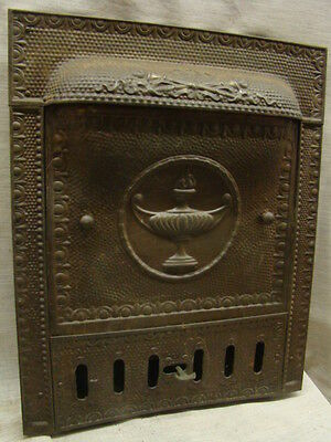 Antique Late 1800's Tin Torch Gas Fireplace Cover Tin Summer Cover
