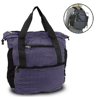 Travelon Convertible Shopper Tote & Backpack Collapsible Stow-Away Nylon Bag