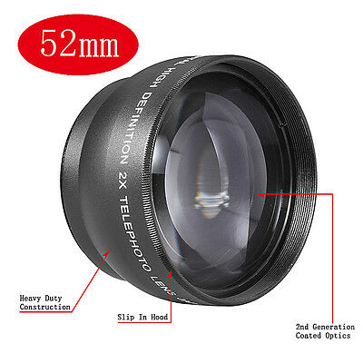 Foxlux 52mm 2x Magnification Telephoto Lens Professional HD