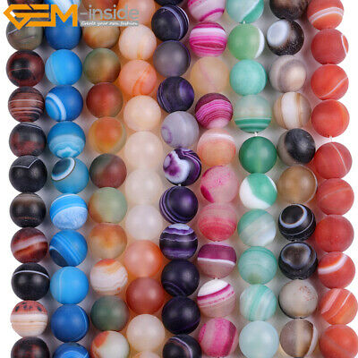"""Natural Stone Round Matte Striped Agate Onyx Beads For Jewelry Making 15"""" 6-14mm"""