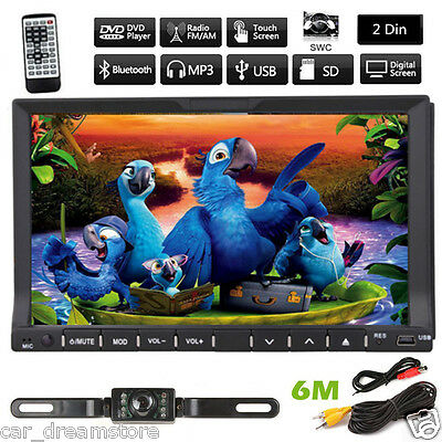 """Double 2Din In Dash Deck Car DVD Radio Player 7"""" Touch BT TV iPod Stereo+ Cam"""