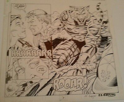 Silver Sable Original Comic Art Great Tiger Man Image! Issue #27 Pg 6! Signed