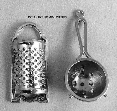 Metal Sieve & Grater , Dolls House Miniature  1:12th Scale, Kitchen Accessory