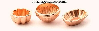 Copper Jelly Moulds Assorted Sizes, Dolls House Miniatures. Kitchen Scene