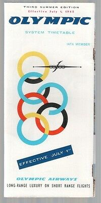 Olympic Airways Timetable July 1965 Oa Third Summer Edition