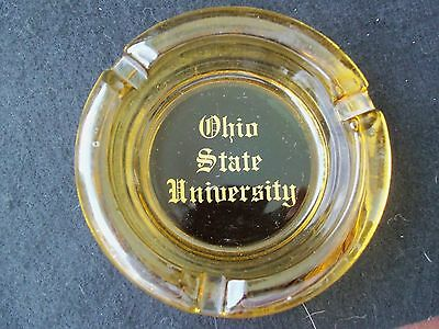 Vintage Ohio State University Glass Ashtray!  AMBER COLOR!  3 RESTS!  NICE!!