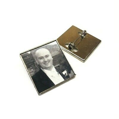 Personalised Memory Brooch  - Silver Photo Pin Badge Have Any Image Nice Gift