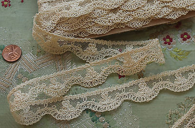 ANTIQUE  COTTON TAMBOUR TULLE LACE 2 YARDS TINY FLOWER FRENCH DOLL DRESS FLAPPER